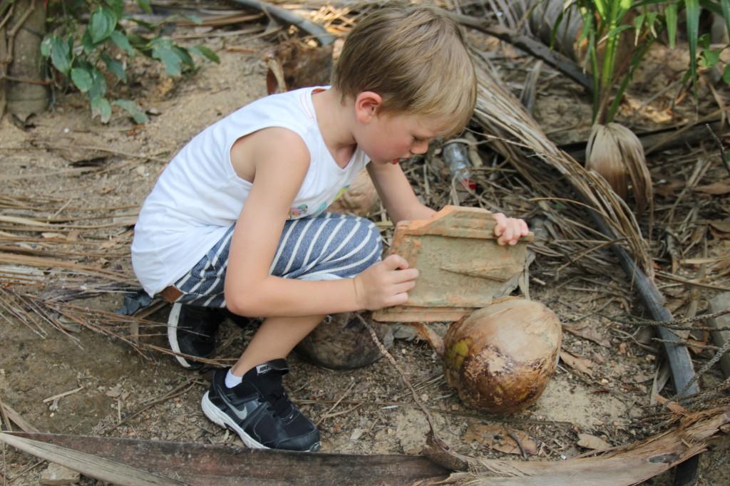 Hmm en kokosnöt som skvalpade. Viggo ville gärna komma in i den men lyckades inte.